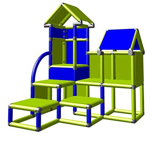 move and stic David Kletterburg für Drinnen und Draußen mit kleinen Treppenstufen (apfelgrün-blau)