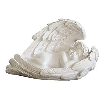 Sleeping Baby Angel Garden Statue Cherub In Wings Feathers Statue Figurine Indoor Outdoor Guardian Home Garden Angel Sculpture Statuette Shelf Sitter Angel Collection Angel Wings Memorial Angel Statue