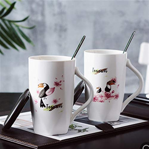 WLLL Cappuccino Cup-Wonderful harmonieuze kleuren 400 ml porseleinen kopjes tafelgerei Canteen Kitchen at Home 400 ml (Color : Toucan, Size : Set of 2)