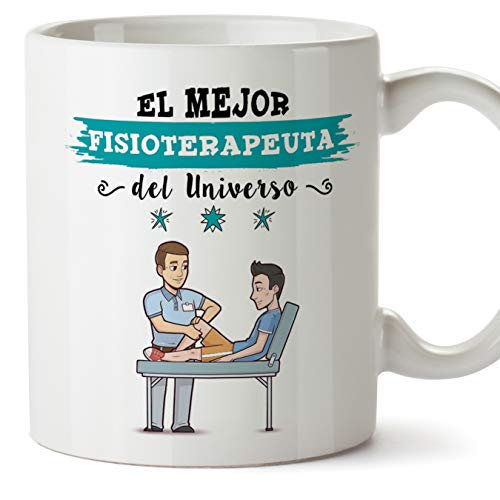 MUGFFINS Fisioterapeuta Tazas Originales de café y Desayuno para Regalar a Trabajadores Profesionales - Esta Taza Pertenece al Mejor Fisioterapeuta del Universo - Cerámica 350 ml