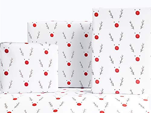 Christmas Wrapping Paper Rudolph The Reindeer Design (6) Sheets - 100% Recyclable Paper by The Doodle Factory…