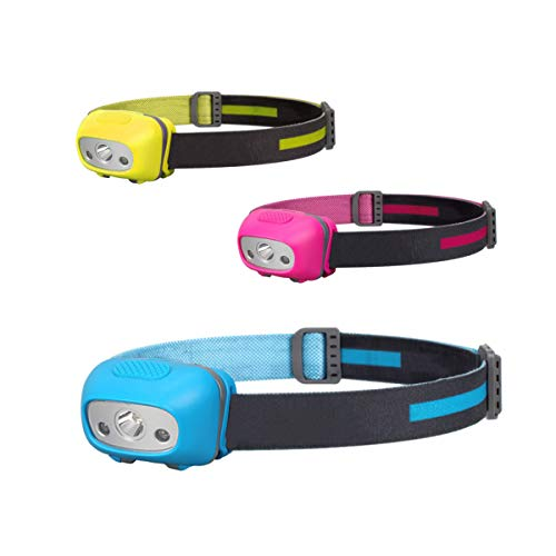 NORYER Head Torch 3 Pack Super Bright Headlamps with 4 Modes Lightweight COB Head Lights for Kids Running Walking Camping Fishing CyclingCar Repair 120 Lumens
