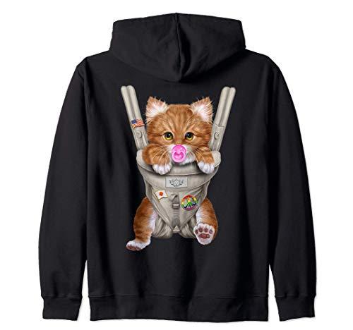 Gato naranja con chupete en portabebé Sudadera con Capucha