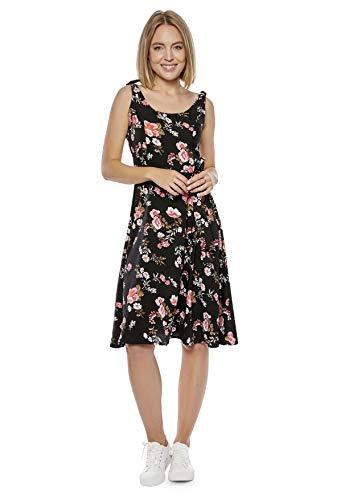Damen Sommerkleid mit Trägern zum Binden (K4) f5488 Farbe: Kleid Schwarz geblümt K4(1446) Gr. 38