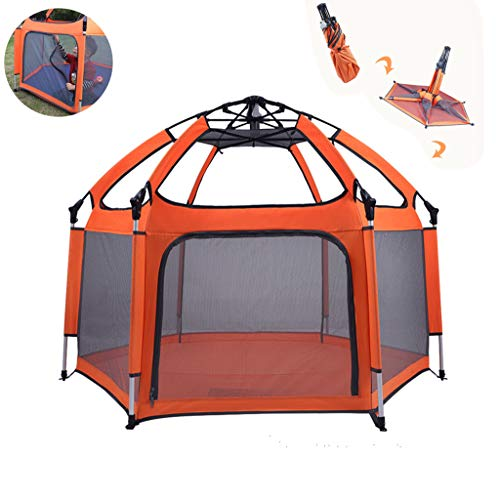 LXLTL Baby Playpen Foldable Kids Safety Playpen Foldable and Compact Best Kids Play Pen with UV Canopy Ideal for at Home, Traveling, Park Or Beach Orange