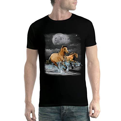 avocadoWEAR Caballos Marrones Oceano Luna Hombre Camiseta XS-5XL