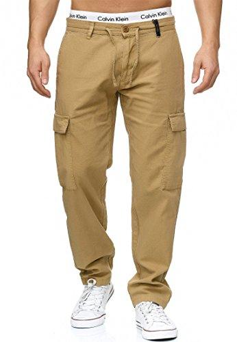 Indicode Herren Leonardo Cargohose aus 55% Leinen & 45% Baumwolle m. 6 Taschen | Lange Regular Fit Cargo Hose Baumwollhose Leinenhose Freizeithose Bequeme Stoffhose f. Männer Cornstalk M