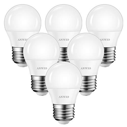ANWIO Lampadine LED G45 con Attaco E27,4.5W Equivalenti a 40W,Luce Bianca Fredda 6500K, 470Lm,Mini Globo,Consumo Basso,Risparmio Energetico,Non dimmerabile,Conefezione da 6 Pezzi