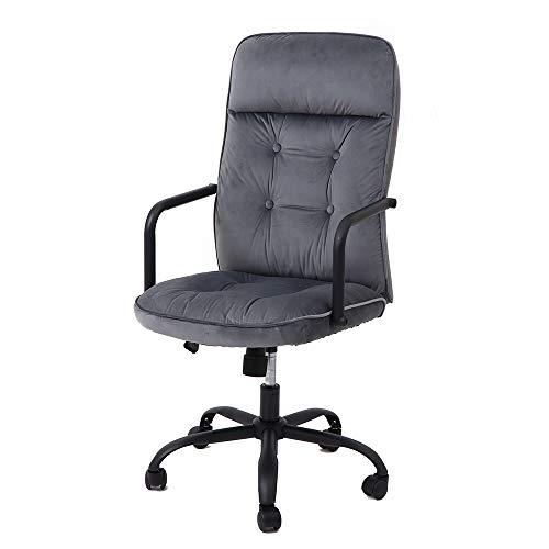 ヤマソロ デスクチェア オフィスチェア 椅子 ハイバック ベロア調 ファブリック くるみボタン Zephy ゼフィー 42-441 (グレー)