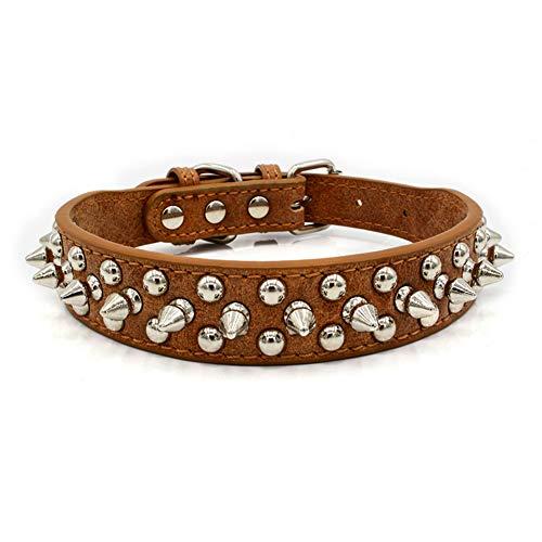 Livecitys Hundehalsband, verstellbar, Punk-Nieten-Halskette, weiches Halsband, für extra kleine, mittelgroße und große Haustiere, Welpen, Braun, XS