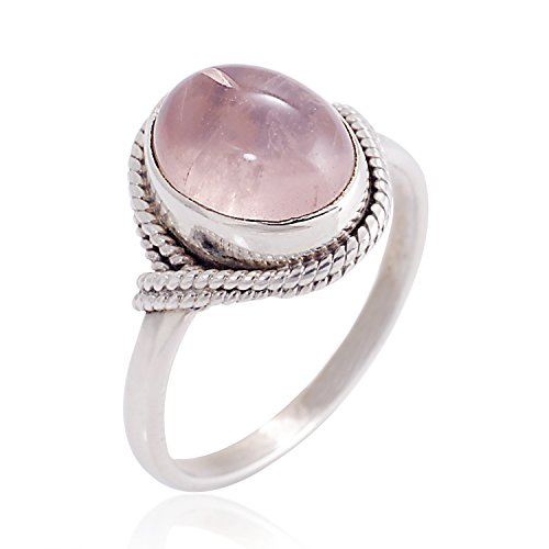 Women?s 925 Sterling Silver Rose Quartz Oval Gemstone Vintage Ring, Size 7