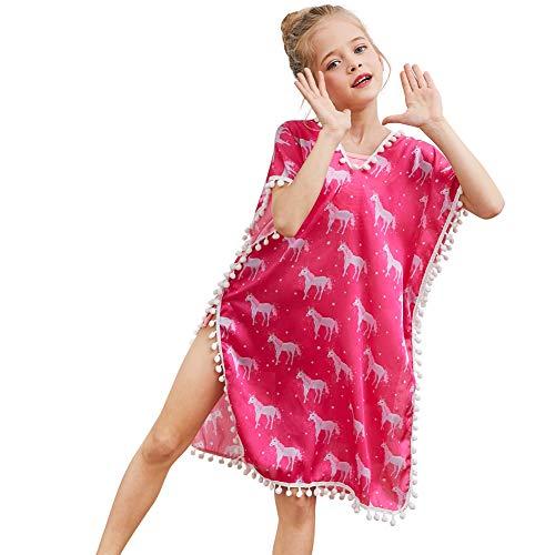 MHJY - Vestido de playa para niña, cuello en V, borla, poncho de playa, verano, niña, bikini, con pompón, para 3 – 11 años de edad Color rojo. 3-4 Años
