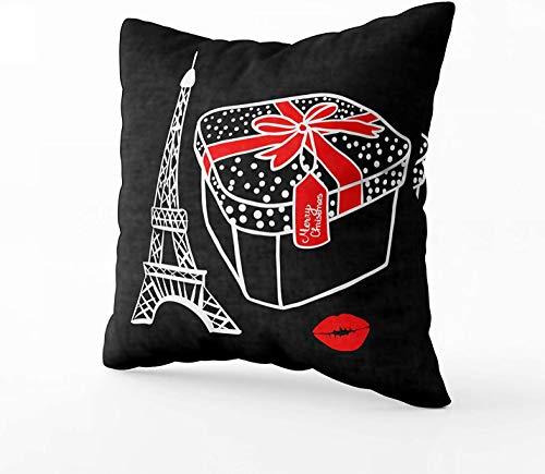 Fundas de almohada de cama, caja de regalo de dibujo blanco con un lazo rojo, diseño de la Torre Eiffel de París con ilustración vectorial sobre fondo negro, 40,6 x 40,6 cm