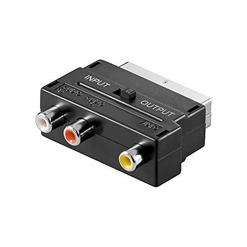 Goobay 50122 Scart zu Composite Audio Video Adapter, IN/OUT - Scartstecker (21-Pin) > 3x Cinch-Buchse, Schwarz, 50122-GB