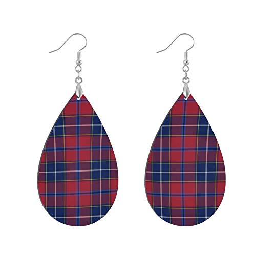 Fashion Teardrop Wooden Earrings Drop Dangle Earings Wishart Dress Tartan Teardrop Earring Round Circle Earring For Women Girl (1Pair)