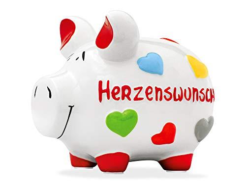 KCG Sparschwein/Mittelschwein Herzenswunsch - 101634 - Markenschwein aus Keramik - KCG Sparschweine mit dem German Brand Award 2017