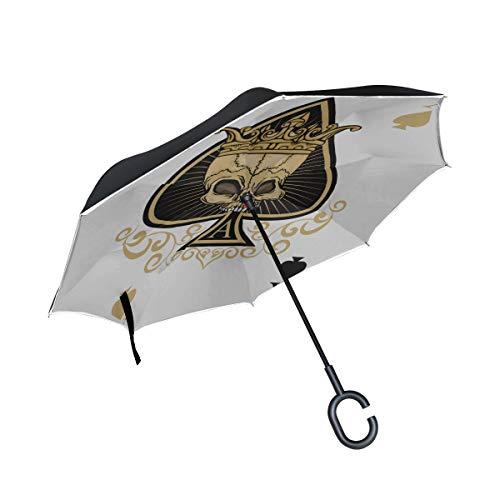 Double Layer Inverted Large Inverted Umbrellas für Frauen Skelett von Spade Trump In Poker Reverse Umbrella für Männer Folding Reverse Umbrella Winddichter UV-Schutz für Regen mit C-förmigem Griff