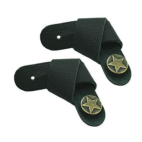 2 ganchos para correa de cuero para guitarra con botón de metal retro, accesorios para guitarra acústica/eléctrica y ukelele, color negro