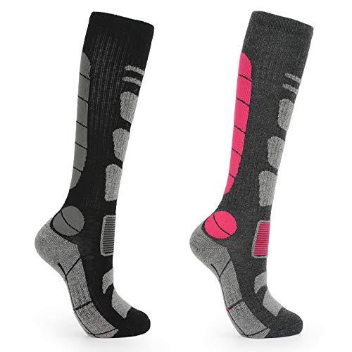 2 Pairs Merino Wool Ski Socks, Thermal Winter Womens Socks Size 3-7 UK, Long Walking Hiking Snowboard Warm Socks for Ladies Girl, Thicken Terry Cushion Outdoor Athletic Socks