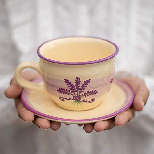 City to Cottage® - Keramik Kaffebecher Teetasse 350 ml   Lavendel Motiv   Handgemacht   Kaffeetasse mit Untertasse   Cappuccino Tasse