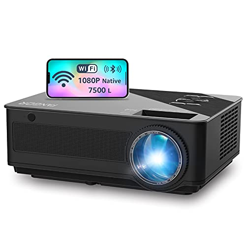 WiFi Projector, Native 1080P Full HD Video Projector, Bluetooth Projector, FANGOR 7500L/250 Display/ Contrast 8000: 1 Theater Movie Projector with Wireless Mirror to Smart Phone/pad/Android Phones