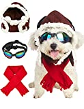 Impoosy Halloween Dog Pilot Costume Pet Hat and Goggles with Dogs Bandanas Funny Dogs Glasses for Small Dogs Adjustable Hard Hats Outfits (Pilot)