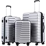 COOLIFE Luggage Expandable Suitcase PC ABS TSA Lock Spinner Carry on new fashion design(sliver, 3 piece set)