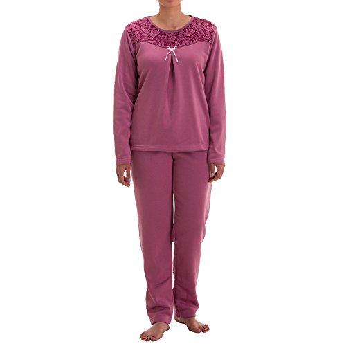 Lucky Damen Thermo Pyjama mit Schleife (S, Altrosa)