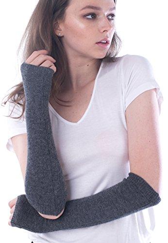 cashmere 4 U Women's 100% Cashmere Long Sleeve Fingerless Mitten Gloves