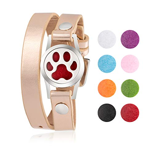 Dog Paw Pet Lover Jewelry Gifts for Women Essential Oil Diffuser Bracelet Stainless Steel Aromatherapy Locket Leather Wrap Personalized Present for Christmas Mother Day