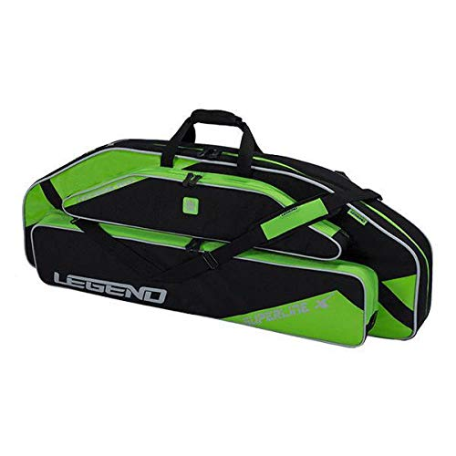 """Legend Superline Compound Bow Soft Case with Protective Padding and Backpack Straps - 44"""" Interior Storage for Hunting Accessories, Arrow Tube Holder and Supplies (Green)"""