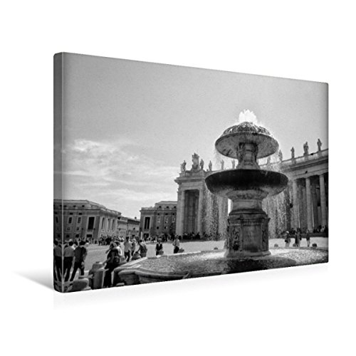 Calvendo Premium Textil-Leinwand 45 cm x 30 cm Quer, Brunnen auf Dem Petersplatz   Wandbild, Bild auf Keilrahmen, Fertigbild auf Echter Leinwand, Leinwanddruck: Vatikan in schwarz und weiß Orte Orte