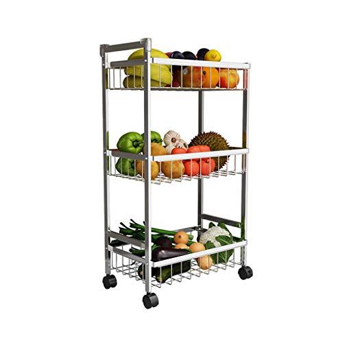 XUSHEN-HU Estante de drenaje de cocina tipo suelo de 3 capas para el hogar de verduras y frutas estante de almacenamiento multifuncional móvil (plata, 82 x 20,5 x 44 cm) cocina