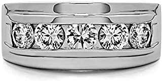 TwoBirch Sterling Silver Classic Channel Set Men's Wedding Ring With Cubic Zirconia(0.5Ct. Size 7.5)