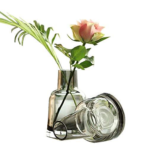 Florero de Cristal, florero de Mesa, Flor florero 2 Stk, Brote Gris...