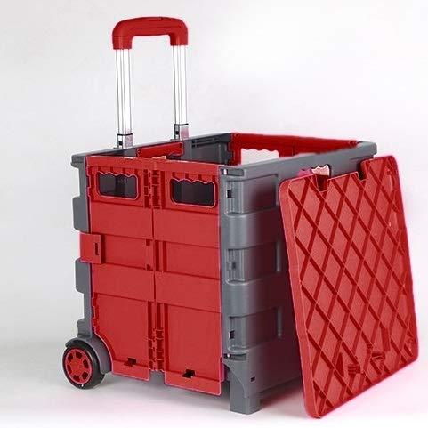 N / A Autolagerung Tragbare Wagen mit Spurstangen Home Shopping Folding SupermarketShopping Trolley, Geeignet for Supermarkt-Einkaufen (Color : Red)