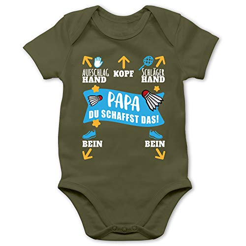 Sport Baby - Papa - Du schaffst das! - weiß/blau - 1/3 Monate - Olivgrün - Geschenke Baby Junge - BZ10 - Baby Body Kurzarm für Jungen und Mädchen