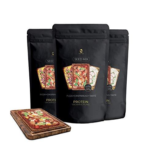 Semi Pizza Mix Proteica - 3x200 g | Impasto 12x100g Pizza, Flammkuchen, 48x25g Pane Croccante | 34g Proteine - 9g Carboidrati | Senza grano e glutine | Per Dieta Paleo, chetogenica, Per diabetici