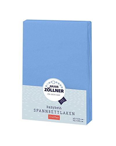 Julius Zöllner Frottee Spannbettlaken für Baby- & Kinderbett, 60x120cm bis 70x140cm, STANDARD 100 by OEKO-TEX, blau