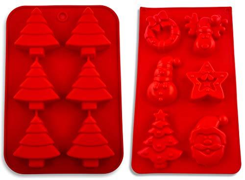 Pritogo 2er Set, Weihnachten Silikonform, Backform, Advent, Muffin, Weihnachtsmann, Schneemann, Tannenbaum, Stern, Christkind, Engel - BPA-Frei