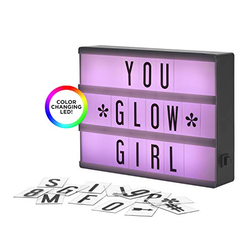 My Cinema Lightbox - The Mini Color-Changing LED Marquee with 100 Letters & Numbers to Create Your Own Sign with Classic White, RGB Color Change, and Freeze Mode, with Letter Storage and USB