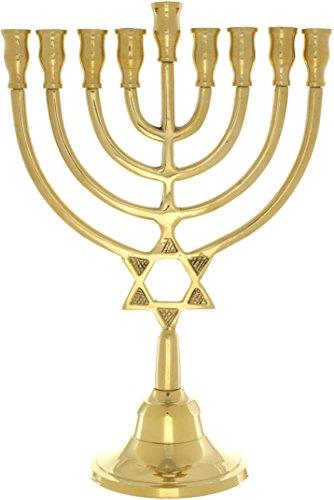 Hanukkah Menora mit 9Zweige, Star of David Design, Messing, 24Zentimeter