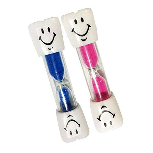 Sharplace 2pcs 3 Minuten Sanduhr Zahnputzuhr Eieruhr Teeuhr mit Lächeln Muster für Kochen, Zimmer, Wohnzimmer, Waschraum Dekoration - Blau + Pink