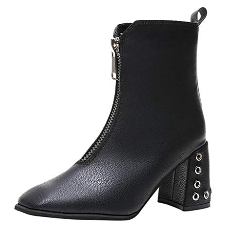 LuckyGirls Mode Mid-Heel Boots High Heels Solid Color Zipper Square Toe Women Chaussures