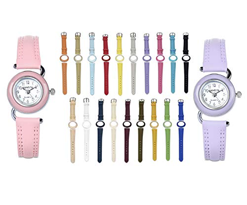 Interchangeable Girl Watch Set – 2 Watches with 19 Assorted Colored Leather Strap and Bezel – Multicolor Watch with Interchangeable Straps – for Siblings and Twins – VW2020-2W