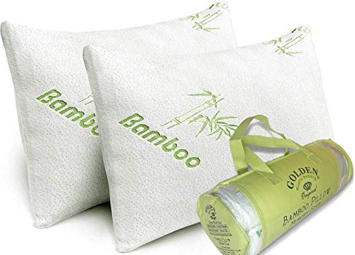 King Size Bamboo Pillow for Sleeping - 2 Pack Cooling Shredded Memory Foam Hypoallergenic Pillows - Washable Cover with Zipper - Relives Neck Pain and Helps with Asthma - Back/Stomach/Side Sleeper
