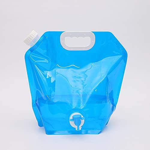 Recipiente de Agua Plegable - Miotlsy 2Pcs 5L+10L Portátil Bidón de Agua con Grifo Potable Plegable Depósito de Agua, para Senderismo Camping Picnic Viaje Barbacoa (Azul)