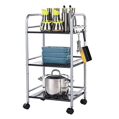 WY-YAN Estante de 3 niveles de cocina del panadero Utilidad del horno microondas soporte de almacenamiento de la compra de estaciones de trabajo Estante, Baño Casa Organizador, plata, 15.7x12.6x29.5 p