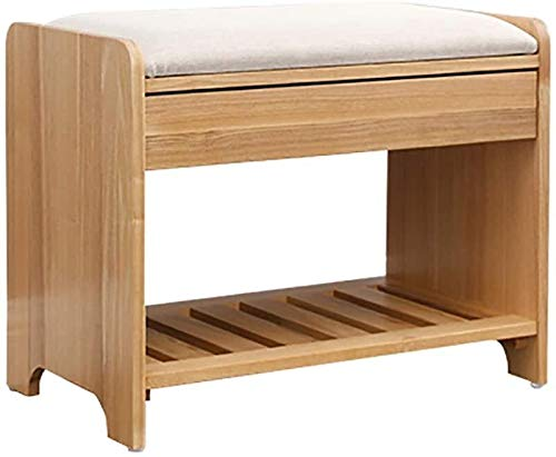 Wddwarmhome Zapatero de bambú para zapatos, banco de madera maciza, taburete de almacenamiento, cajón oculto, 55 x 32 x 43 cm (color: C)