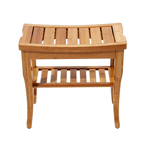sogesfurniture Bambus Hocker Sitzhocker Duschhocker, Ablage Badhocker Holz, Badezimmer Sitzbank, 44.5 x 47.5 x 26 cm (H x B x T), KS-HSJ-04-BH